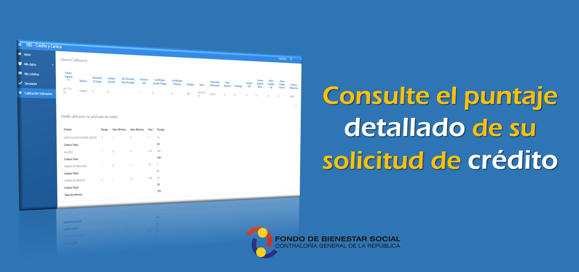 Informacion Consulte el Puntaje Detallado de su Solicitud de Crédito