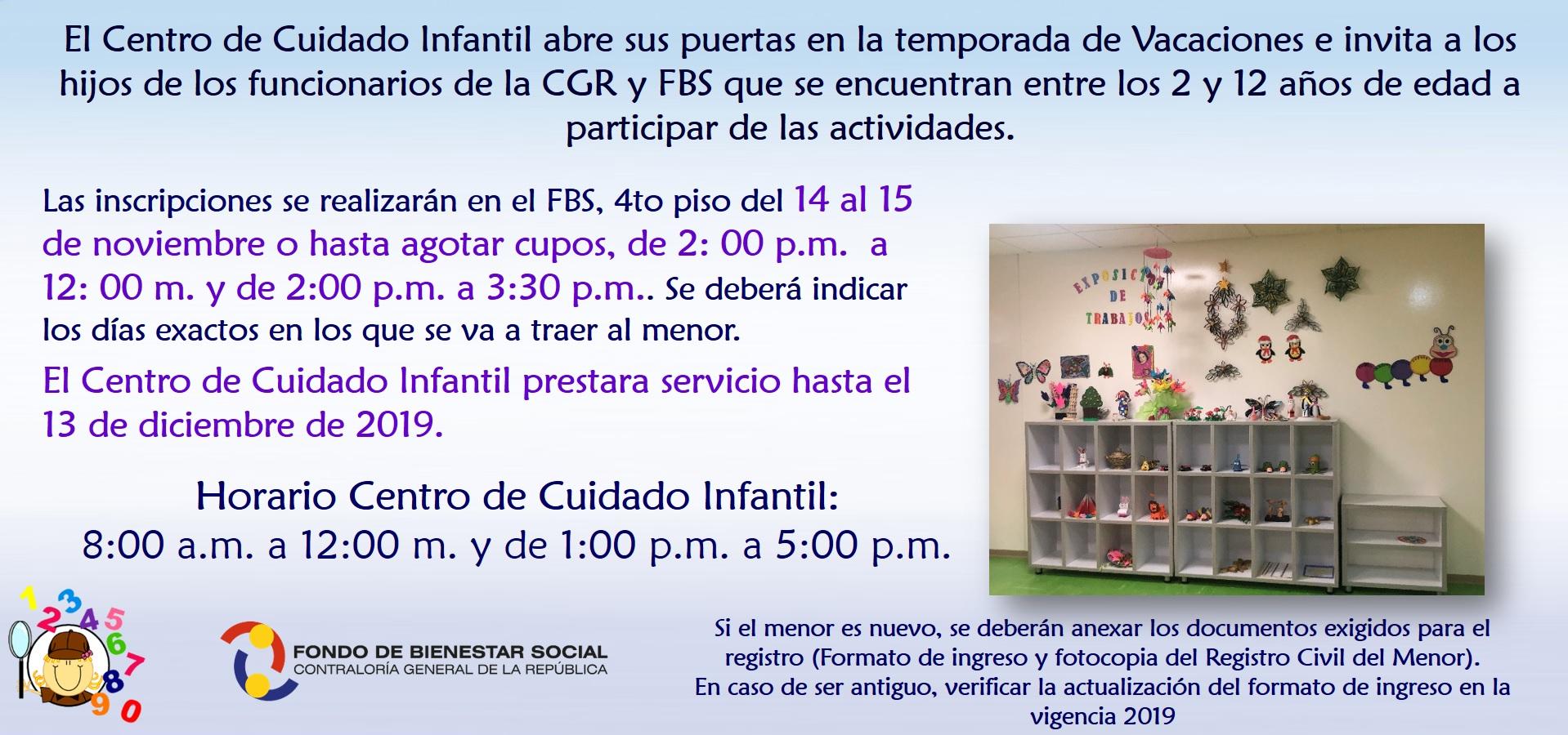 Informacion Inscripciones Centro de Cuidado Infantil