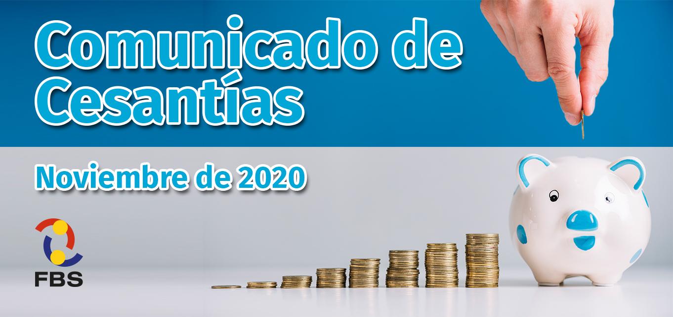 Informacion COMUNICADO DE CESANTÍAS - NOVIEMBRE 2020